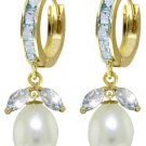 AQUAMARINE & PEARL HUGGIE HOOP EARRINGS 14K YELLOW GOLD