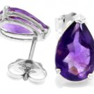 PEAR SHAPE NATURAL AMETHYST STUD EARRINGS IN 14K, WHITE