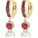 REAL RUBY & PEARL HUGGIE HOOP EARRINGS 14K. YELLOW GOLD