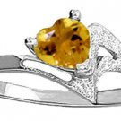 NATURAL HEART-SHAPED CITRINE RING 14K. SOLID WHITE GOLD