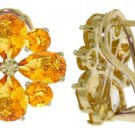 CITRINE FRENCH CLIP STUD EARRINGS SOLID YELLOW 14K GOLD