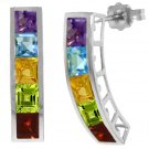 PRINCESS CUT MULTI GEMSTONE EARRINGS IN 14K. WHITE GOLD