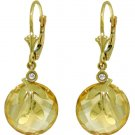 CITRINE & DIAMOND LEVER BACK EARRINGS: 14K. YELLOW GOLD