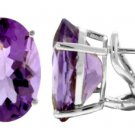 NATURAL AMETHYST -  FRENCH-CLIP EARRINGS 14K WHITE GOLD