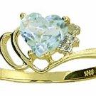 NATURAL HEART AQUAMARINE & DIAMOND 14K YELLOW GOLD RING