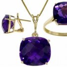 NATURAL AMETHYST SET NECKLACE, EARRINGS & RING 14K GOLD
