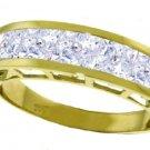 NATURAL PRINCESS-CUT AQUAMARINE RING IN 14K YELLOW GOLD