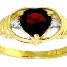 NATURAL GARNET HEART & DIAMONDS RING IN 14K YELLOW GOLD