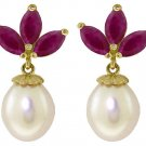 CULTURED PEARL & NATURAL RUBY EARRINGS: 14K YELLOW GOLD
