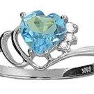 BLUE TOPAZ HEART & GENUINE DIAMONDS RING 14K WHITE GOLD