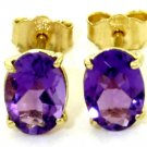 OVAL SHAPED NATURAL AMETHYST STUD EARRINGS: 14K. YELLOW