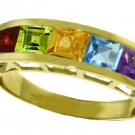 NATURAL MULTI GEMSTONES RING IN 14K. SOLID YELLOW GOLD