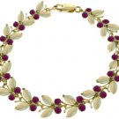 NATURAL RUBY & OPAL BUTTERFLY BRACELET 14K YELLOW GOLD