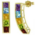 NATURAL MULTI GEMSTONE EARRINGS 14K. SOLID YELLOW GOLD