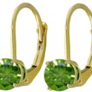 GENUINE 1 CT.GREEN DIAMOND EARRINGS IN 14K. YELLOW GOLD