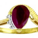 NATURAL RUBY AND DIAMONDS RING IN 14K SOLID YELLOW GOLD
