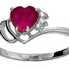 NATURAL HEART RUBY & DIAMONDS IN A 14K. WHITE GOLD RING