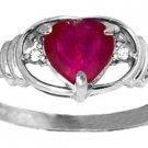 NATURAL RUBY HEART DIAMONDS RING SET IN 14K. WHITE GOLD