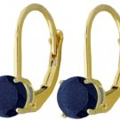REAL SAPPHIRE LEVER BACK STUD EARRINGS 14K. YELLOW GOLD