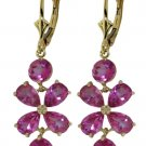 NATURAL PINK TOPAZ FLOWER EARRING SOLID 14K YELLOW GOLD