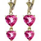 NATURAL PINK TOPAZ HEARTS DROP EARRINGS 14K YELLOW GOLD