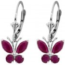 NATURAL RED RUBY BUTTERFLY EARRINGS: IN 14K. WHITE GOLD