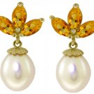 NATURAL PEARL AND CITRINE  EARRINGS  IN 14K YELLOW GOLD