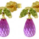 DD-3076Y: NATURAL PINK TOPAZ & PERIDOTS EARRINGS 14K. YELLOW GOLD
