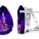 NATURAL AMETHYST FRENCH-CLIP STUDS  IN 14K. WHITE GOLD