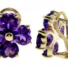 REAL AMETHYST FLOWER FRENCH CLIP STUDS 14K. YELLOW GOLD