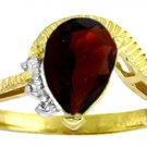 NATURAL GARNET & GENUINE DIAMONDS RING 14K. YELLOW GOLD