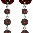 NATURAL GARNET DANGLE EARRINGS IN SOLID 14K. WHITE GOLD