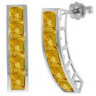 NATURAL PRINCESS CUT CITRINE EARRINGS IN 14K WHITE GOLD