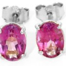 NATURAL PINK TOPAZ OVAL STUD EARRINGS IN 14K WHITE GOLD