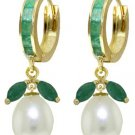 EMERALD & CULTURED PEARL HUGGIE EARRING 14K YELLOW GOLD