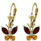 GARNET & CITRINE BUTTERFLY EARRINGS IN 14K. YELLOW GOLD