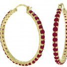 NATURAL RED RUBY HOOP EARRINGS IN SOLID 14K YELLOW GOLD
