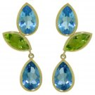BLUE TOPAZ AND PERIDOT EARRING STUDS IN 14K YELLOW GOLD