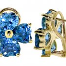 BLUE TOPAZ FLOWER FRENCH CLIP STUDS IN 14K. YELLOW GOLD