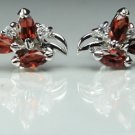 """""""925.SOLID SILVER STUD EARRING WITH  NATURAL GENUINE GARNET"""