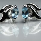 925.SOLID SILVER STUD EARRING WITH  NATURAL GENUINE TOPAZ