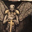 Winged skeleton holding sword tee