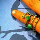 Jade Green Glass Beads Ring