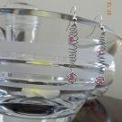 Silver Vortex Earrings w/ Pink Swarvoski Crystals