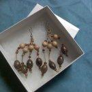 Beaded Wood Drop Earrings