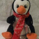 Coca Cola Penguin Bean Bag holding Coke bottle w/tag