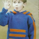 L@@K!*CHILDS SPORTS CROCHET HOODIE*-NEW CROCHET PATTERN