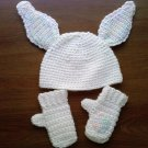 L@@K! DARLING NEW 3-PIECE INFANT BUNNY HAT& MITTENS SET