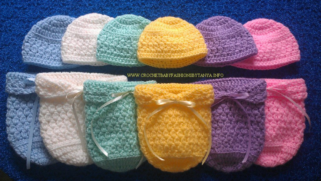 """L@@K! COZY NEW """"PREEMIE & REBORN BABY PAPOOSE/COCOON & HAT SETS""""- HAND CROCHETED"""