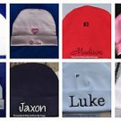 L@@K! DARLING CUSTOM PERSONALIZED MONOGRAM BEANIE BABY HATS-INFANT/NEWBORN 0-3MO